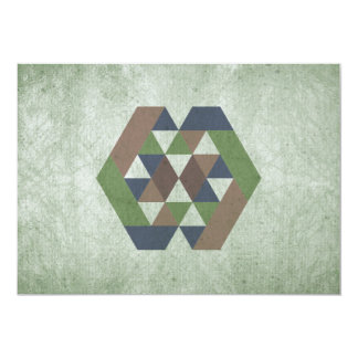 Abstract green triangles invitations