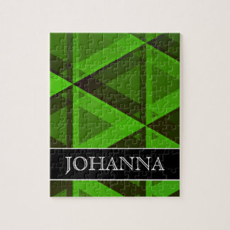 Abstract Green Triangles Pattern + Custom Name Puzzle