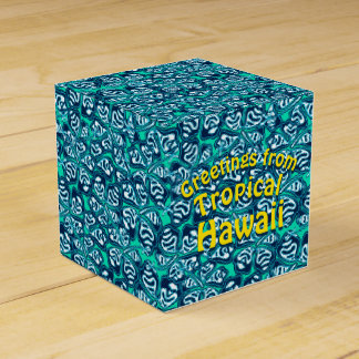 Abstract green tropical floral favor box