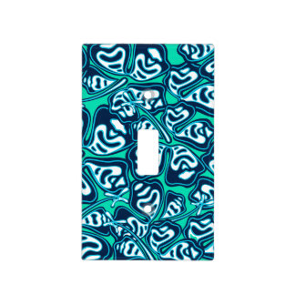 Abstract green tropical floral light switch cover