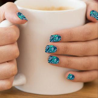 Abstract green tropical floral minx nail art