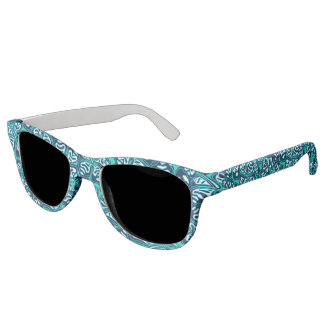 Abstract green tropical floral sunglasses