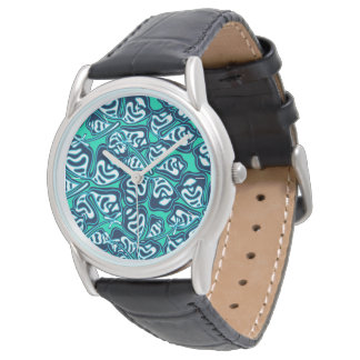 Abstract green tropical floral watch