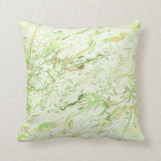 Abstract Greenery Fresh Mint Gold Marble Luxury Throw Pillow
