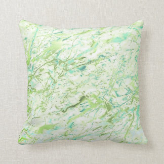 Abstract Greenery Vivid Mint Blue Marble Luxury Throw Pillow