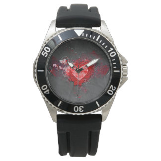 Abstract Grey and Red Heart Watch