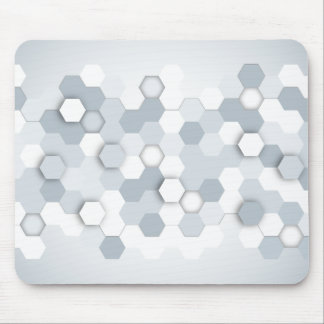 Abstract Grey/Blue Hexagons Mouse Pad