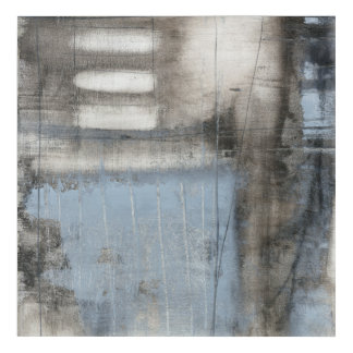 Abstract Grey & Blue Painting Acrylic Wall Art
