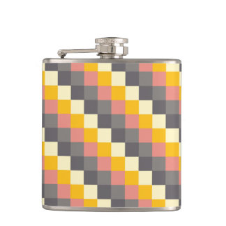 Abstract Grid Color Pattern Flasks