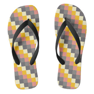 Abstract Grid Color Pattern Flip Flops