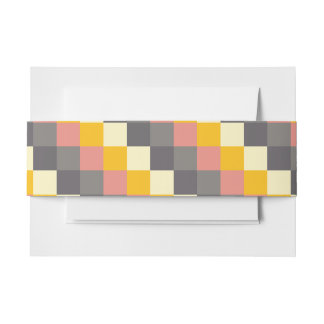 Abstract Grid Color Pattern Invitation Belly Band