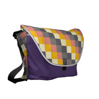 Abstract Grid Color Pattern Messenger Bags