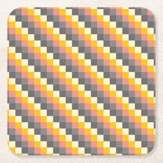 Abstract Grid Color Pattern Square Paper Coaster