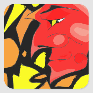 Abstract Grinning Devil Art Square Sticker