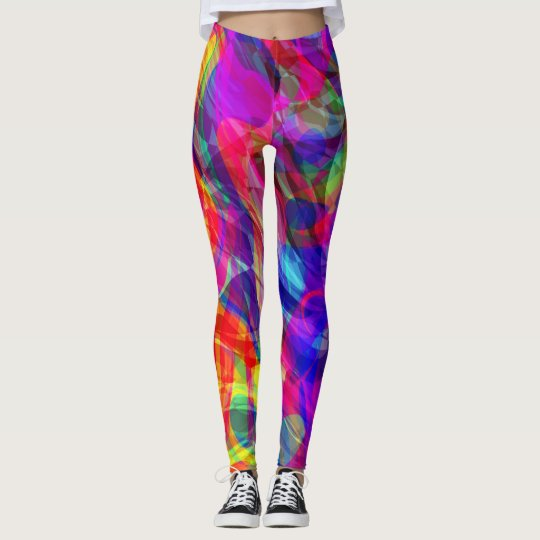 Abstract Groovy Life in Blue Purple Leggings