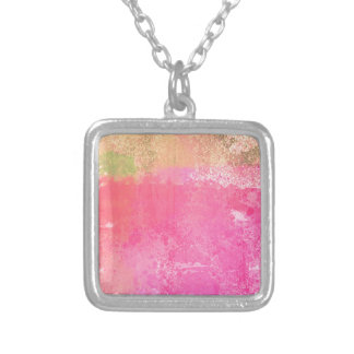 Abstract Grunge Watercolor Pink Silver Plated Necklace