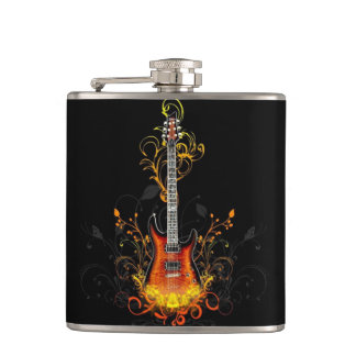 Abstract Guitar Hip Flask