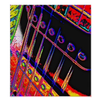 Abstract Guitar Modern Pop Art Poster Rock N Roll