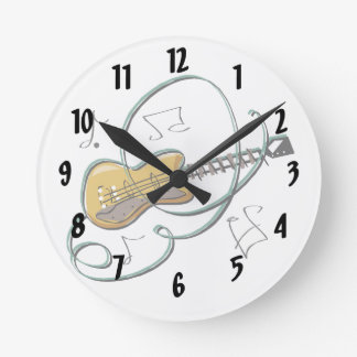 abstract guitar notes music.png round clock