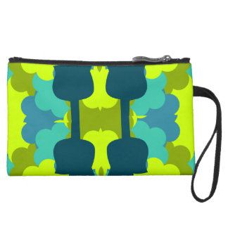 Abstract guitars in green wristlet purse
