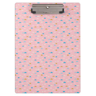 Abstract Half Moon Pink Patterned Clipboards