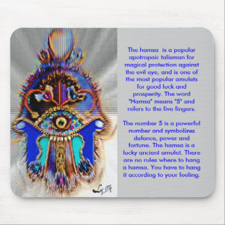 ABSTRACT HAMSA BY LIZ LOZ MOUSE PAD