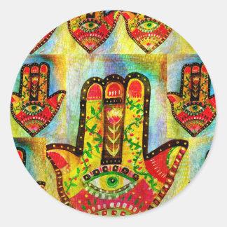 Abstract Hamsa Hand Art Round Sticker