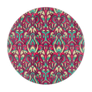 Abstract hand drawn colorful pattern. cutting board
