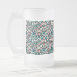 Abstract hand drawn colorful pattern. frosted glass beer mug
