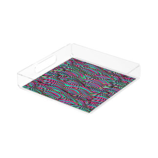 Abstract hand-drawn funky waves texture. serving tray