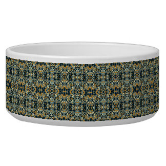 Abstract hand drawn pattern. Black and gold color. Pet Food Bowls