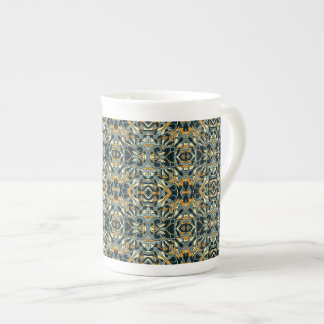 Abstract hand drawn pattern. Black and gold color. Tea Cup