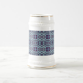 Abstract hand drawn pattern. Blue color. Beer Stein