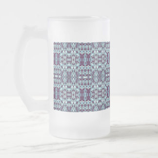 Abstract hand drawn pattern. Blue color. Frosted Glass Beer Mug
