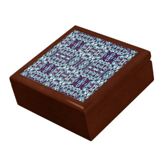 Abstract hand drawn pattern. Blue color. Gift Box