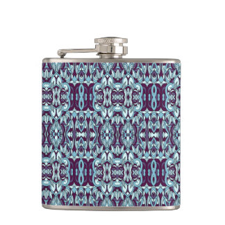 Abstract hand drawn pattern. Blue color. Hip Flask