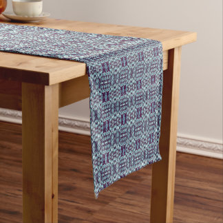 Abstract hand drawn pattern. Blue color. Short Table Runner