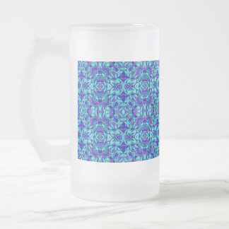 Abstract hand-drawn pattern. Blue cyan color. Frosted Glass Beer Mug