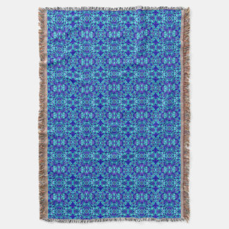 Abstract hand-drawn pattern. Blue cyan color. Throw Blanket