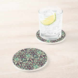 Abstract hand drawn pattern. Green colors. Drink Coaster