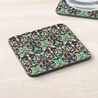 Abstract hand drawn pattern. Green colors. Drink Coasters