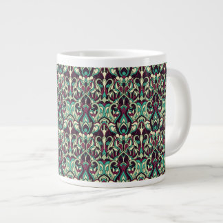 Abstract hand drawn pattern. Green colors. Large Coffee Mug