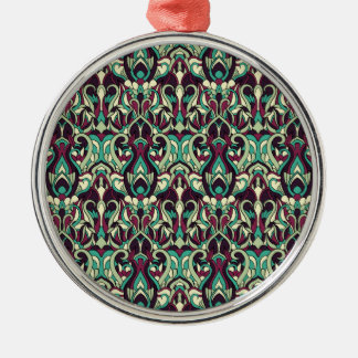 Abstract hand drawn pattern. Green colors. Metal Ornament