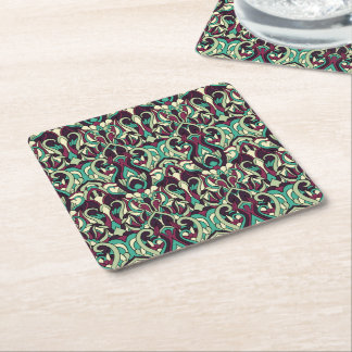 Abstract hand drawn pattern. Green colors. Square Paper Coaster
