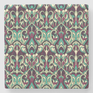 Abstract hand drawn pattern. Green colors. Stone Coaster