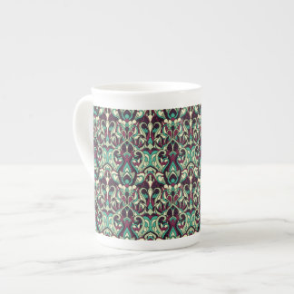 Abstract hand drawn pattern. Green colors. Tea Cup
