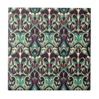 Abstract hand drawn pattern. Green colors. Tile