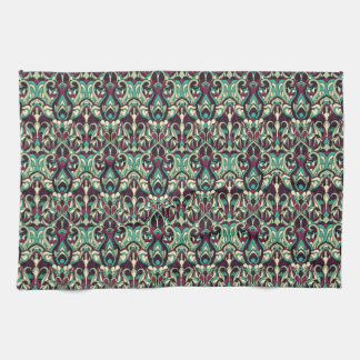 Abstract hand drawn pattern. Green colors. Towel