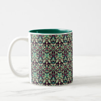 Abstract hand drawn pattern. Green colors. Two-Tone Coffee Mug