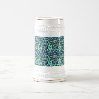 Abstract hand drawn pattern. Green cyan colors. Beer Stein